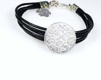 Black leather bracelet, silver pendant, black cuff bracelet, black boho bracelet, bohemian bracelet, black bracelet, black leather wristband