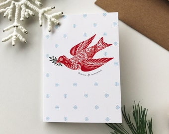 Christmas Card Peace & Love - Greeting Card, Dove, Snowflake, Holiday Card, White, Red, Green