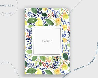 Bullet Dot grid journal. Happiness journal notebook. Watercolor Botanical illustration, gift for her, mother's day gift, care journal
