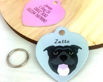 Dog Tag Staffordshire Bull Terrier - Staffie ID Disc - Staffie Collar Tag -HEART