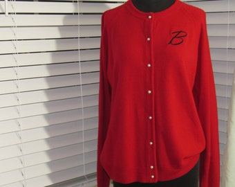 Red Cardigan with Fax Pearl Buttons, Initial B, Embroidered B, Medium, Large, XLarge