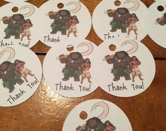 12 Moana Party Favor Thank You Tags (can be personalized)