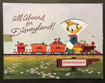 Very Rare Vintage Art Corner Mechanical Postcard All Aboard For Disneyland Donald Duck Chip and Dale