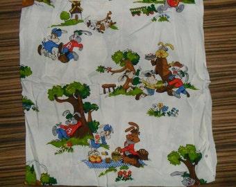 Rare Original 1950's Vintage Rabbit Cotton Fabric
