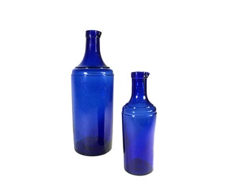 2 French Cobalt Blue Bottles with Pouring Spout