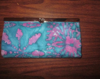WALLET/CLUTCH - Blue/Pink Batik