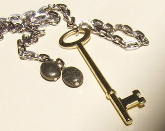 Brass Key Lariat with Pyrite