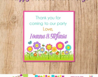 HAPPY FLOWERS favor tags - YOU print - 3, 2.5 or 2 inch square