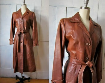 70s Brown Leather Trench Coat - Patchwork Design - Berman's - 1970s Vintage Leather Trench Coat