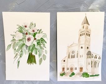 Custom Watercolor Bridal Wedding Bouquet Painting