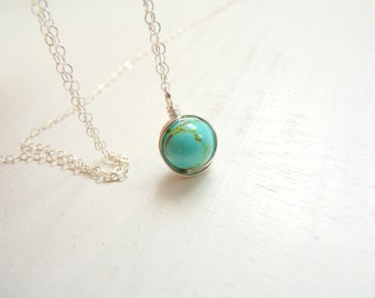 Turquoise necklace, silver necklace, wire wrapped necklace, silver chain, simple necklace silver, minimaist jewelry
