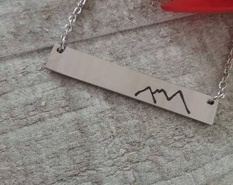 Mountains bar necklace, faith can move mountains, horizontal bar necklace, minimal jewelry, stainless steel, mountains, faith, christian