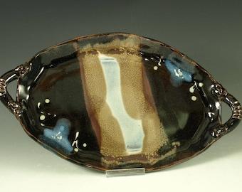 Oval Serving platter tenmoku black stoneware pottery cheese tray