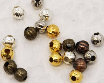 Round Iron Corrugated Mixed Color Beads 5mm (50pcs) Z24 Good for Torch Fired Enamels