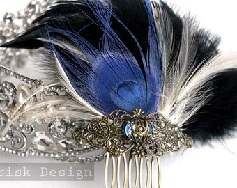 Royal Blue peacock and black feather fascinator (Helena design, 5 fastener option) kentucky derby,wedding hair,gatsby party,capitol city