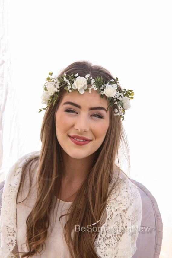 Flower Crown Of Ivory Rose And Green Fern And Babies Breath