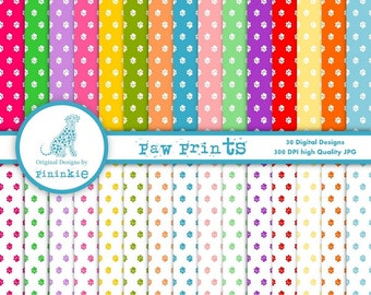 Paw Print Digital Paper Pack - INSTANT DOWNLOAD - Commercial Use (CU)