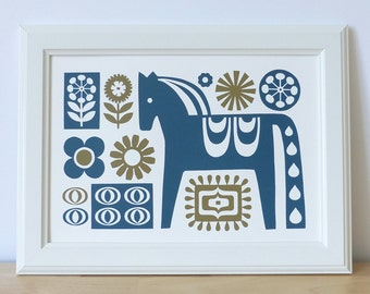 Scandinavian Dala Horse Screen Print Retro 1970s 1960s A4 Hand-pulled Fran Wood Design