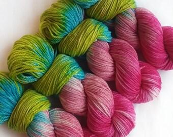 Hand dyed yarn, Spring bouquet, 100% Polwarth wool, dk weight yarn, pink yarn, green yarn, turquoise yarn