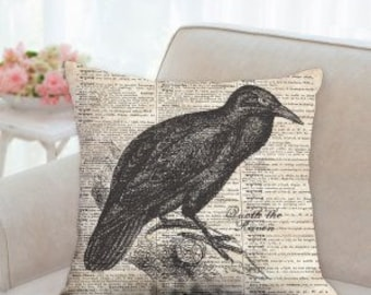 Raven Designer Halloween Pillow
