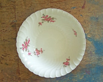 Antique Burleigh Burgess & Leigh Large Serving Bowl with Pink Rosebuds - Rare Pattern