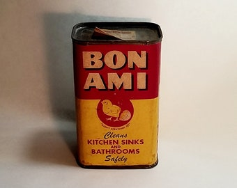 1950's Bon Ami Cleaner Tin Container Baby Chick Logo, Red & Yellow Advertising
