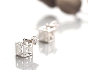 Mini Dice Earrings 925 Sterling Silver Number Charm Dainty Jewelry