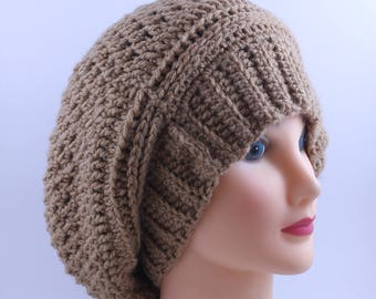 Hand Knitted Beanie,  Slouchy Head Accessory, Boho-chic  Brown Large