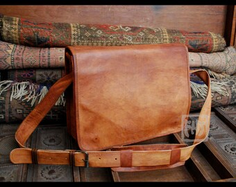 """FHT Camel Leather Messenger Bag Shoulder Satchel 10""""x14"""" Full Flap"""