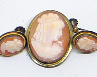 Vintage Sterling Cameo Pin Pendant And Earrings - Italy - Screw Back Earrings - Matching Set - Mid-Century Cameos - Pin Brooch Or Pendant