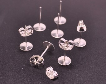 Silver Plated Earring Studs--20 pairs 6mm Nickel free Flat Pad Blank ,Silver Earring Post With Back Stoppers Earnuts,6x12mm