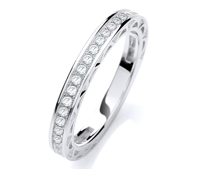 925 Sterling Silver 3/4 Pave Cz Channel Set Eternity Ring
