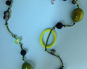 Collier mi long double link green and black