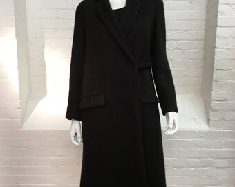 vintage mohair wrap coat // black sweater coat // Donna Karan Signature label // small