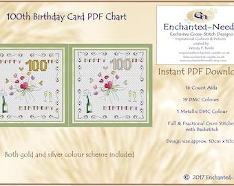 100th Birthday Card PDF Cross Stitch Chart // Cross Stitch Pattern // Instant Download // Cross Stitch PDF // Birthday Card // PDF Pattern
