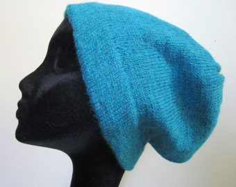 Civil War Wool Hat Cap Man's Hand Knit Slouchy Beanie Turquoise Green Blue Fisherman's- Size Large