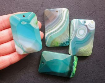 AS PICTURED- 4pcs Large Blue Green Stripe Agate Rectangle Pendant 35x55mm- top drilled
