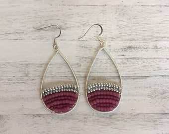 Pink Wire Wrapped Teardrop Dangle Earrings Fuchsia Drop Earrings Pink Earrings Textured Silver Earrings Statement Earrings