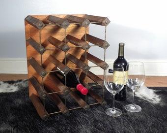 vintage mid century industrial wine rack