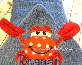 Personalized  Hooded Crab Towel with Washcloth for Pool, Beach or Bath