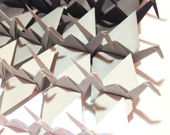 Ombre White to Black, Origami Cranes, Origami Garlands, Photo Backdrop, Window Display, Ombre Origami, Black & White Origami Cranes