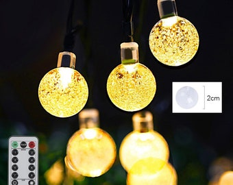 Globe String Lights, 20ft String Lights 30 LED Battery Operated with Remote for Bedroom, Famirosa Crystal Ball Patio, 4 colors available