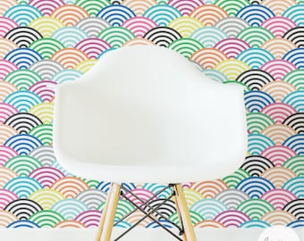 Colorful Nursery Wallpaper, Scallop Wall Mural / Traditional or Removable wallpaper L060
