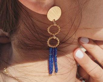Statement earrings with blue seed beads