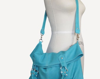 ROPE HANDLE TOTE - Large leather tote - Large custom bag - Robin's egg blue handbag - Custom leather bag