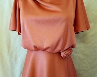 70s-Does-30s Evening Gown // Dusty Rose Pink Medium Evening Gown with Rosette // Vintage 1970s Dress