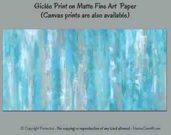 Teal aqua gray wall art, Modern abstract painting - giclee fine art print, Aqua home decor, Bedroom, Office, Large artwork, Wide panoramic