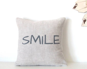 Pillow Cover - SMILE - 12 x 12  inches - Choose your fabric and ink color - Accent Pillow