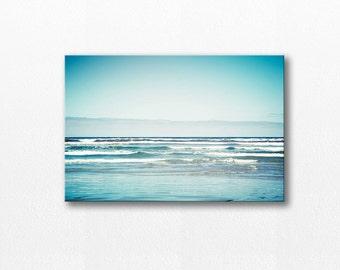 ocean photography canvas print nautical decor coastal 12x12 24x36 fine art photography beach large canvas wrap blue aqua waves gallery wrap