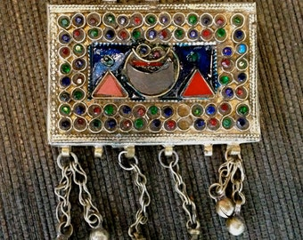 Morrocan Berber Ethnic Pendant, Large Amulet pendant.Silver,Enamel,and Gems